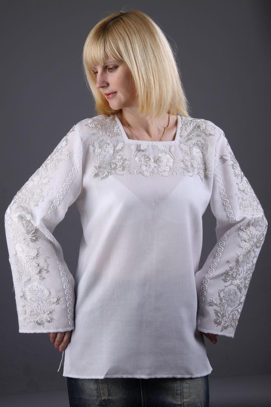 Рубашка женская розы белые