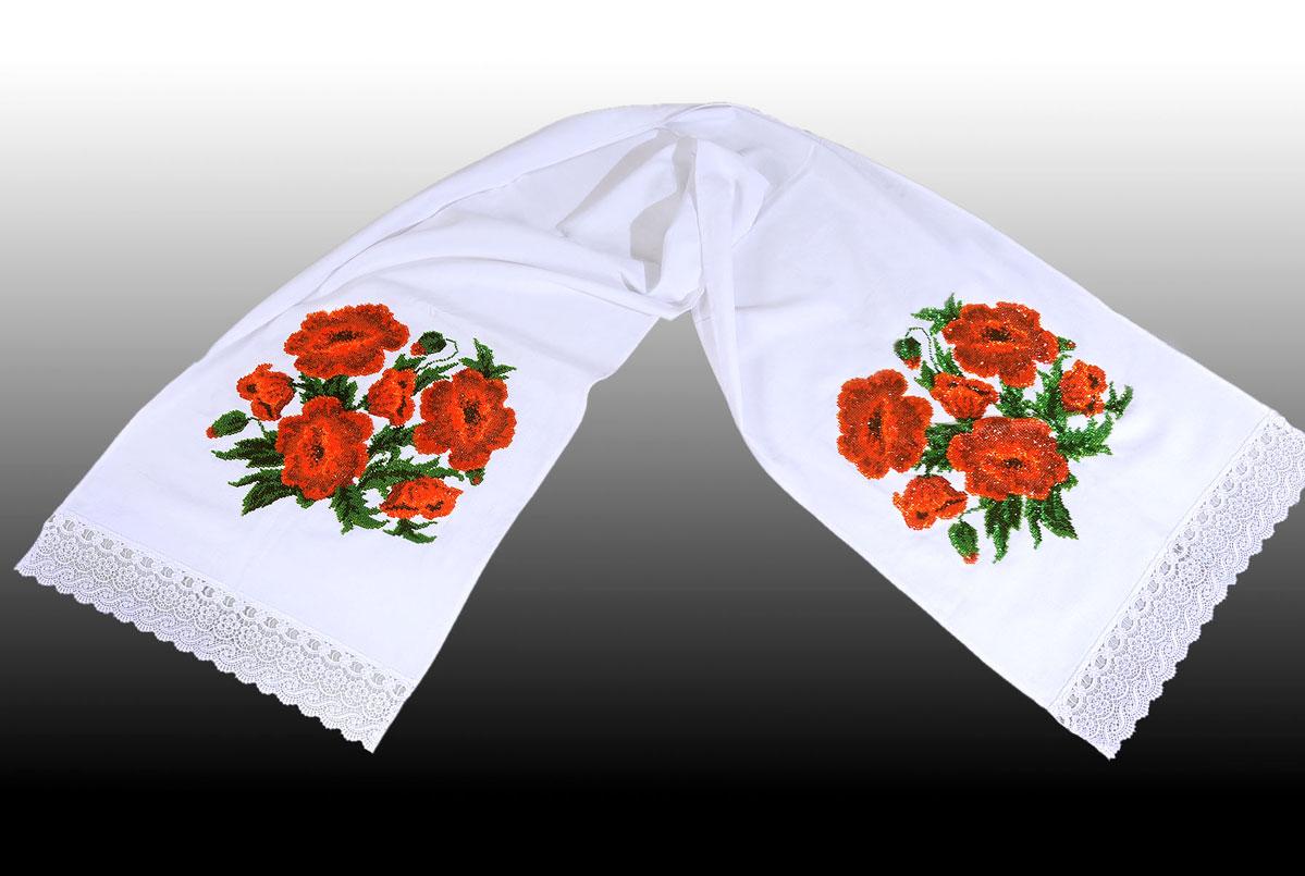 Вышивка рушника с маками