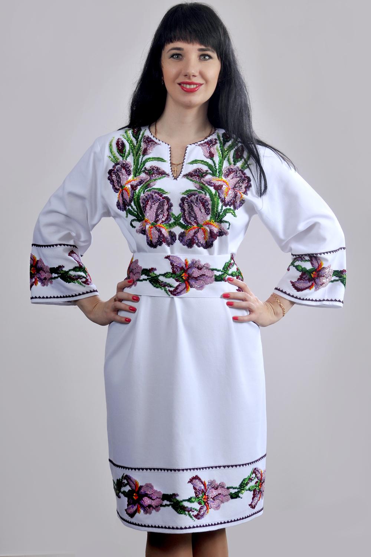 Платье вышивка ирисы